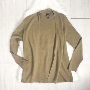 Eileen Fisher Open Front Cardigan Sweater Tan L